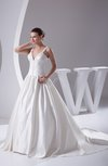 Elegant Outdoor Princess Thick Straps Sleeveless Lace up Chapel Train Bridal Gowns