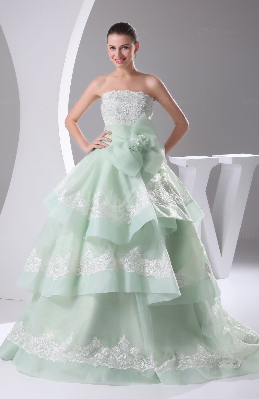 Light green cinderella church princess sleeveless lace up for Light green wedding dress