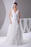 Modest Garden A-line Sleeveless Chiffon Beading Bridal Gowns