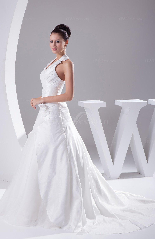 White gorgeous church halter sleeveless backless taffeta for Gorgeous backless wedding dresses