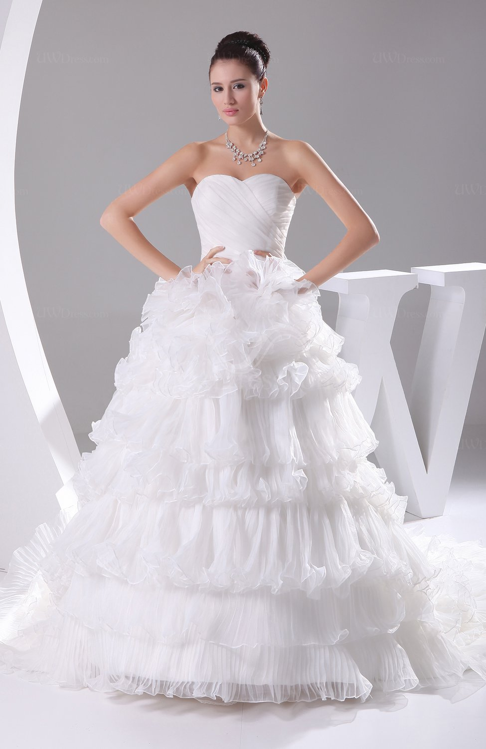 Cinderella Wedding And Evening Gowns : Cinderella church princess organza chapel train pleated bridal gowns