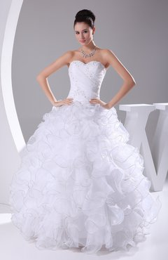 White Gorgeous Destination Princess Sleeveless Organza Floor Length Bridal Gowns