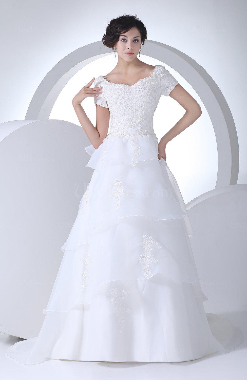 Elegant garden queen anne short sleeve lace up brush train for Short flowing wedding dresses