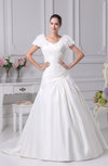 Simple Church A-line Scoop Satin Court Train Flower Bridal Gowns