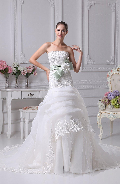Modern outdoor trumpet strapless organza ribbon bridal for Organza trumpet wedding dress
