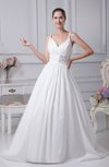 Gorgeous Garden A-line Spaghetti Zip up Taffeta Rhinestone Bridal Gowns