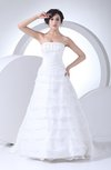 Romantic Garden A-line Strapless Lace up Sweep Train Beaded Bridal Gowns