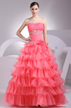 Cinderella Hall Princess Lace up Organza Floor Length Tiered Bridal Gowns