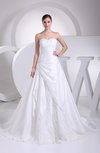 Modern Hall A-line Zip up Taffeta Court Train Appliques Bridal Gowns