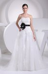 Elegant Outdoor A-line Sleeveless Court Train Sash Bridal Gowns