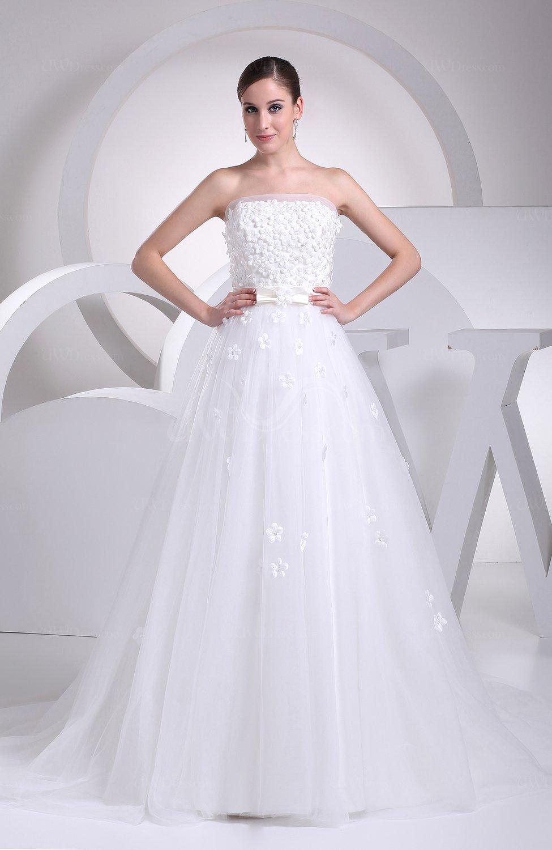 Gorgeous church sleeveless chapel train sash bridal gowns for Chapel train wedding dresses
