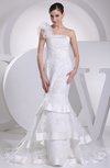 Elegant Outdoor Mermaid Asymmetric Neckline Sleeveless Zipper Court Train Bridal Gowns