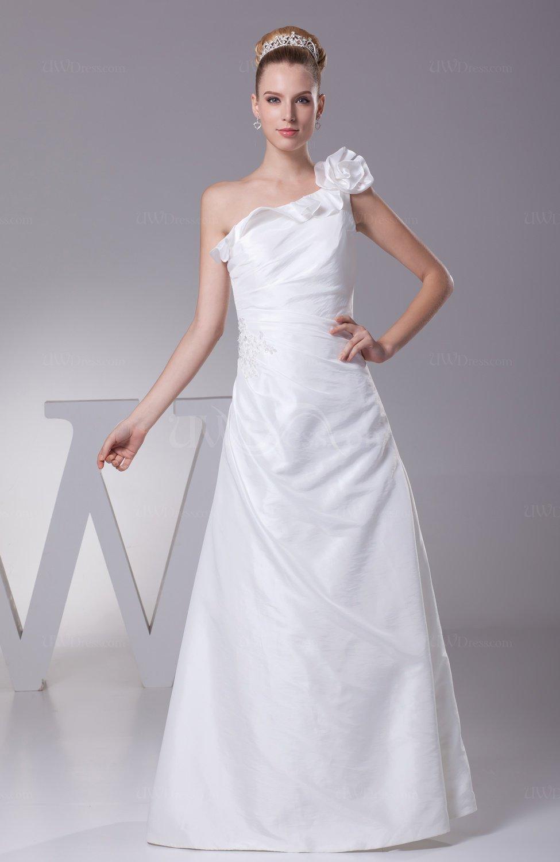 White modest beach a line asymmetric neckline zip up for A line taffeta wedding dress