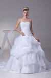 Fairytale Church Princess Backless Organza Sequin Bridal Gowns