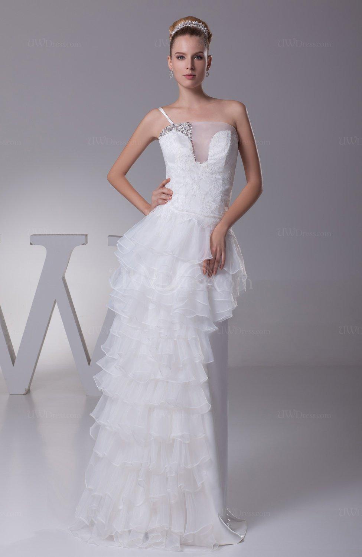 White glamorous destination a line zip up organza floor for White destination wedding dresses