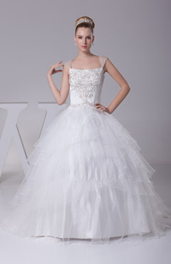 Fairytale Church Ball Gown Wide Square Zip up Bridal Gowns