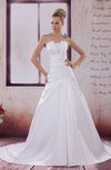 Traditional Hall A-line Strapless Sleeveless Satin Appliques Bridal Gowns