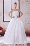 Elegant Church Strapless Sleeveless Backless Satin Appliques Bridal Gowns