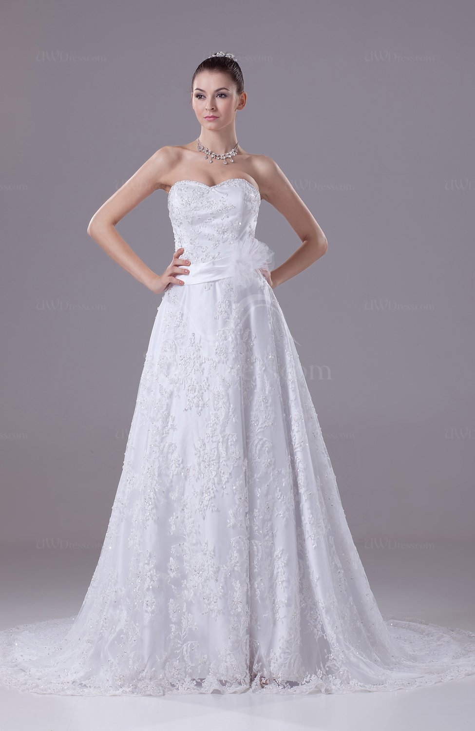 Mature church a line sweetheart chapel train bridal gowns for Wedding dresses chapel train