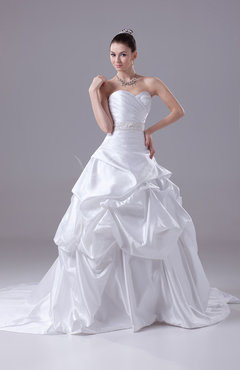 White Cinderella Outdoor Sweetheart Sleeveless Zipper Court Train Beaded Bridal Gowns