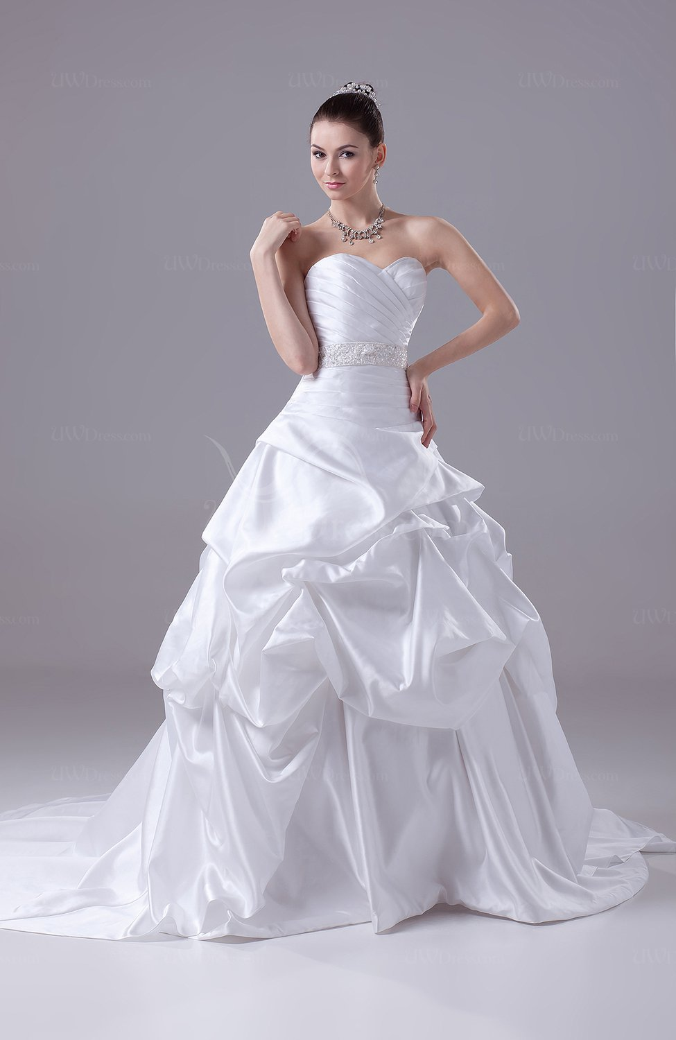 White Cinderella Outdoor Sweetheart Sleeveless Zipper