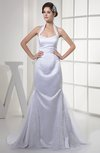 Traditional Outdoor Trumpet Halter Zipper Court Train Bridal Gowns