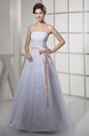 Gorgeous Destination A-line Strapless Zip up Ribbon Bridal Gowns