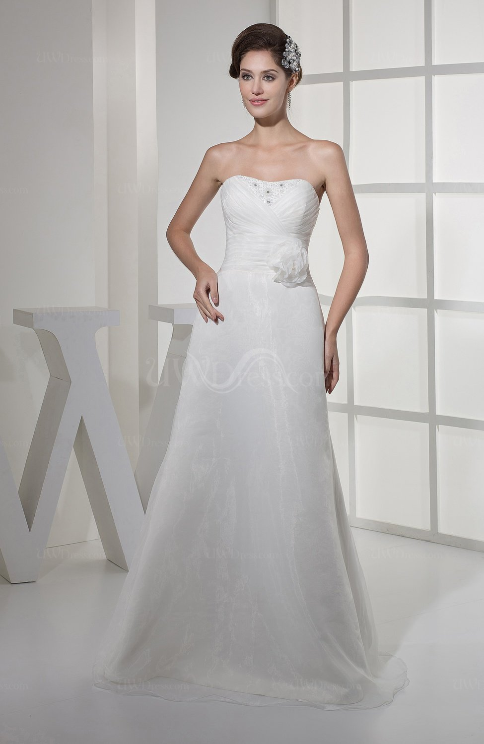 Simple garden a line sweetheart backless ruching bridal for A line wedding dress with ruching