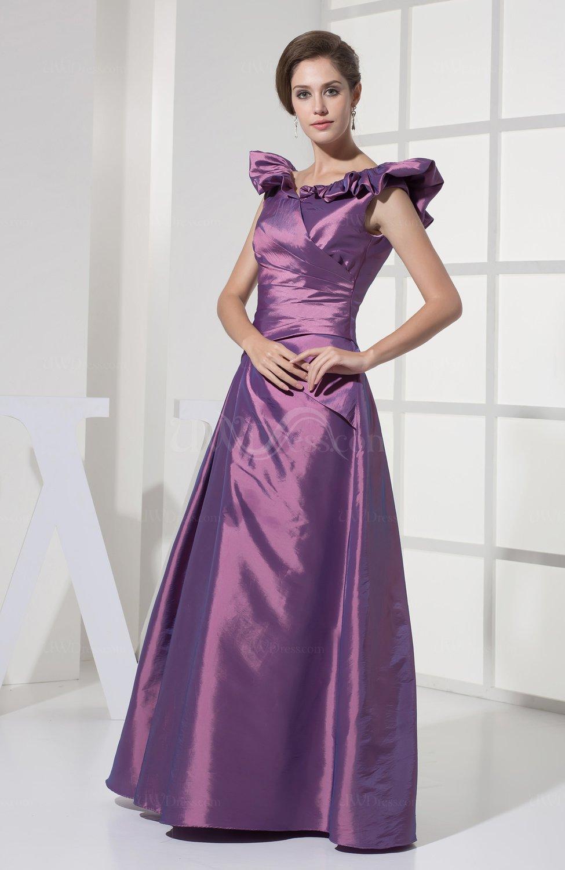 Eggplant Plain A Line Sleeveless Taffeta Ruching Wedding Guest Dresses UWDr