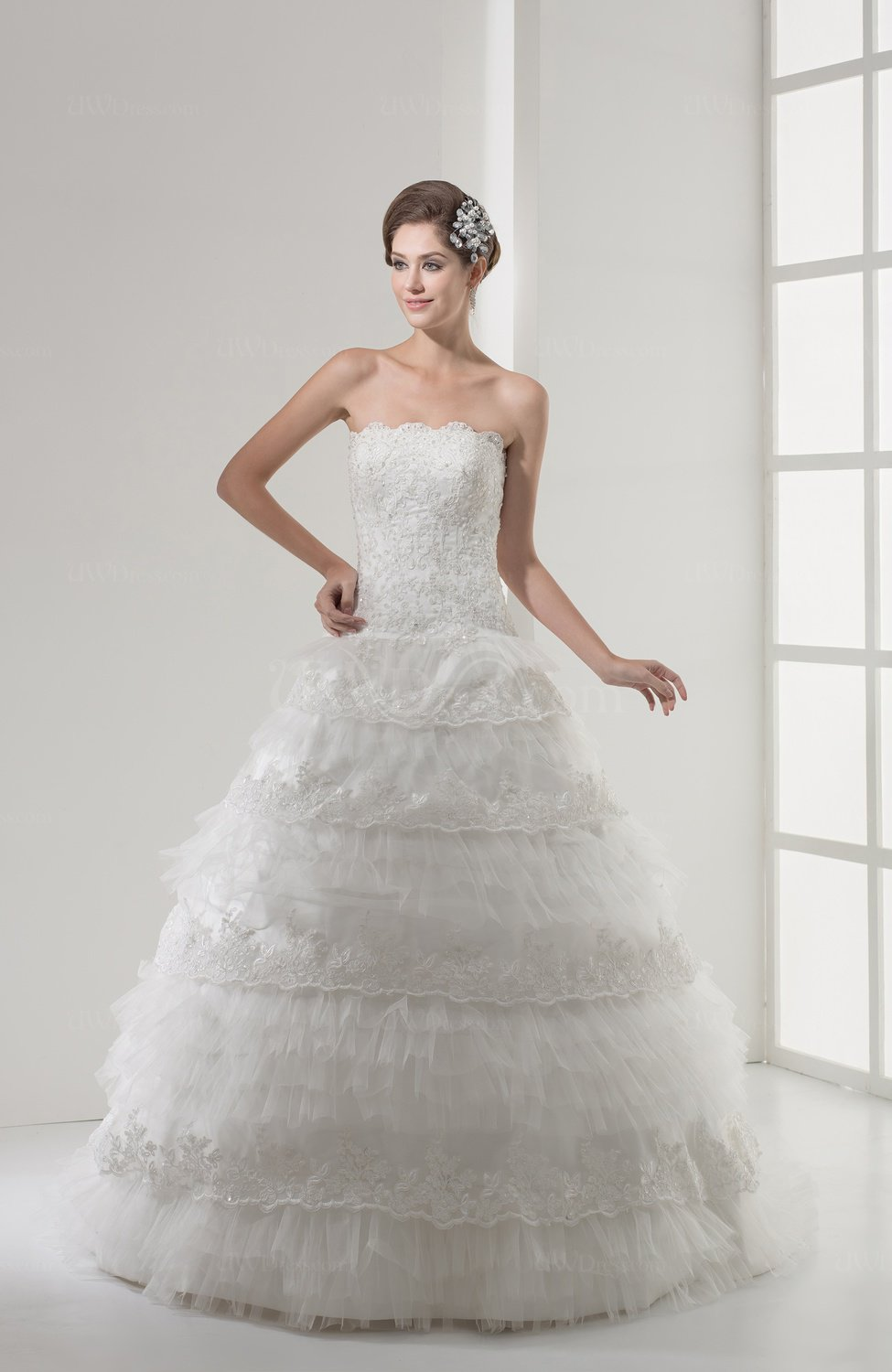 Mature Church Princess Strapless Tiered Bridal Gowns - UWDress.com