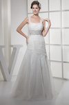Gorgeous Church A-line Square Zip up Sweep Train Sequin Bridal Gowns