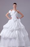 Gorgeous Church Ball Gown Zipper Taffeta Floor Length Bow Bridal Gowns