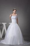 Gorgeous Church Princess Off-the-Shoulder Short Sleeve Zipper Court Train Bridal Gowns