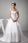 Vintage Outdoor A-line Zipper Satin Court Train Bridal Gowns