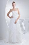 Romantic Church Sweetheart Sleeveless Zip up Organza Court Train Bridal Gowns