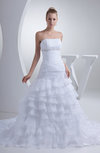 Elegant Hall Strapless Sleeveless Backless Chapel Train Ruching Bridal Gowns