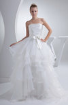 Fairytale Beach Princess Strapless Sleeveless Organza Bow Bridal Gowns