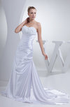Modern Church Zipper Silk Like Satin Court Train Pleated Bridal Gowns