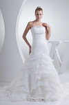 Elegant Outdoor Trumpet Sleeveless Backless Ruching Bridal Gowns
