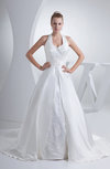 Traditional Outdoor Princess Halter Sleeveless Backless Satin Bridal Gowns