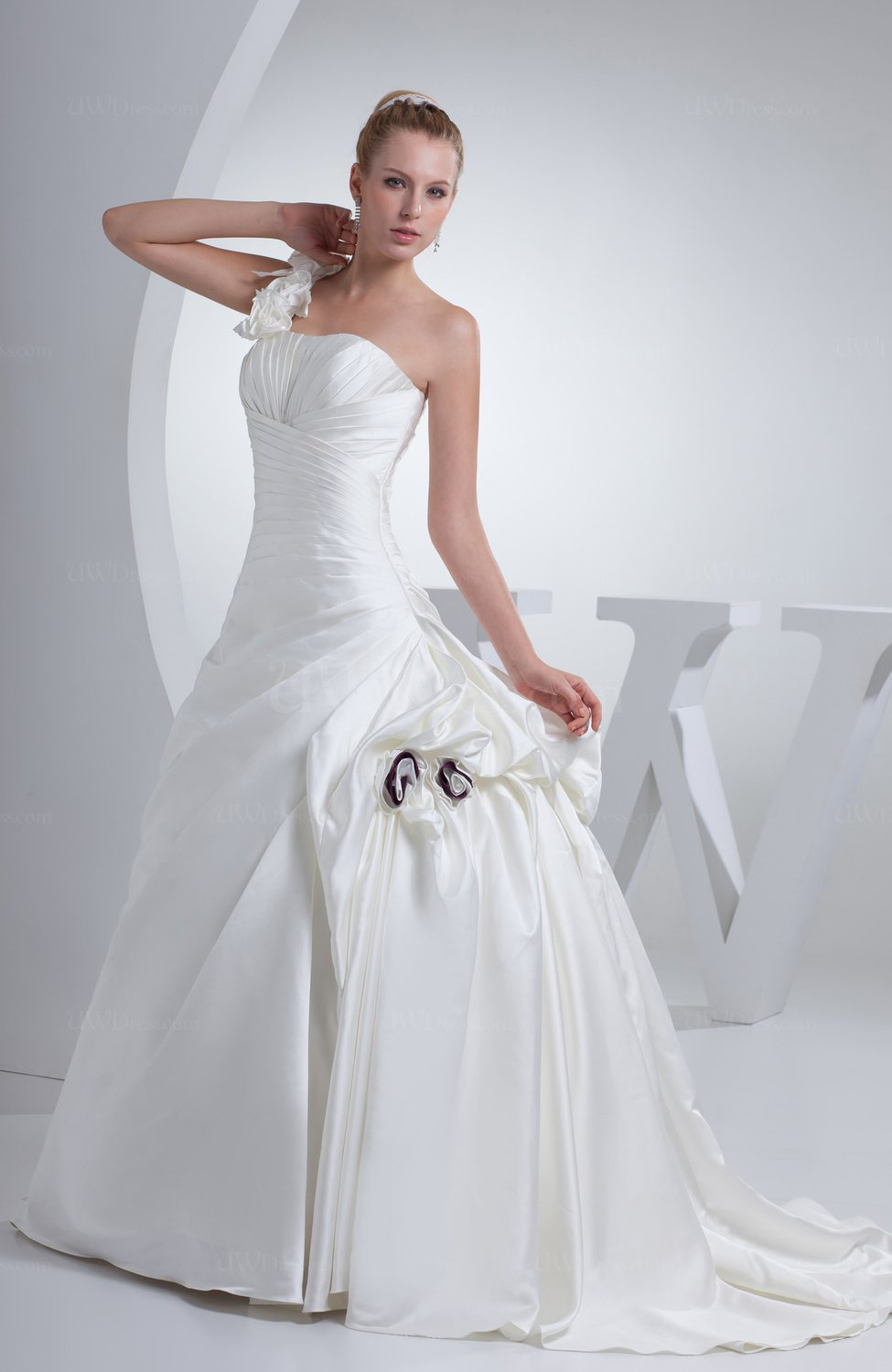 Simple hall princess backless satin court train flower for Simple courthouse wedding dress