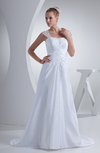 Elegant Church A-line Wide Square Short Sleeve Taffeta Bridal Gowns