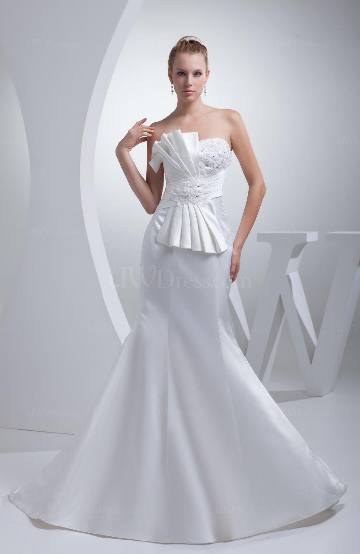 White elegant garden strapless zipper satin court train for Elegant satin wedding dresses