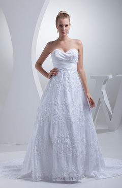 White Elegant Church Sweetheart Zipper Satin Chapel Train Bridal Gowns