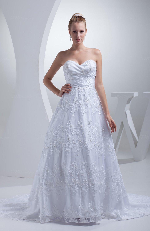 White elegant church sweetheart zipper satin chapel train for Elegant satin wedding dresses