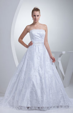 Glamorous Hall Sleeveless Zip up Sash Bridal Gowns