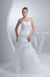 Romantic Outdoor Sweetheart Sleeveless Organza Sequin Bridal Gowns