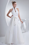 Vintage Hall A-line High Neck Sleeveless Backless Organza Bridal Gowns