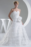 Hawaiian Church A-line Strapless Lace up Organza Brush Train Bridal Gowns