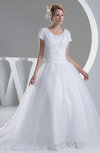 Disney Princess Church Ball Gown Short Sleeve Zip up Court Train Bridal Gowns
